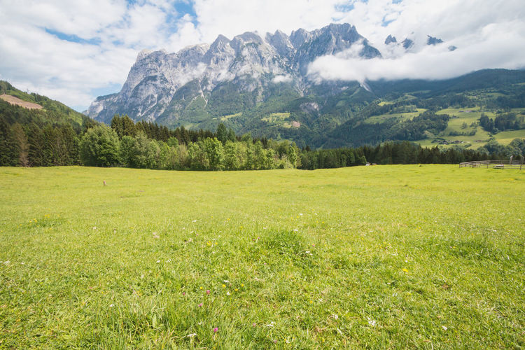 Meadow with view of the Tennen Mountains, one of the shooting locations for Sound of Music movie Austria Field Beauty In Nature Europe Landscape Meadow Mountain Mountain Range Outdoors Salzburg Sound Of Music Tennen Tour Tourism Travel Destinations Werfen