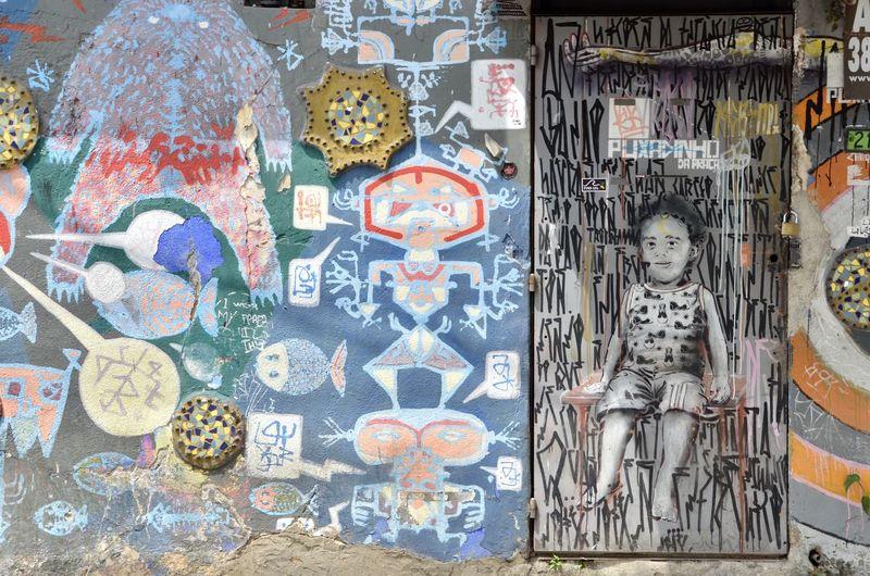Graffiti on wall in store