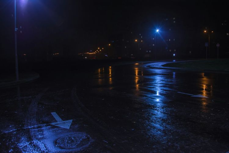 Night Illuminated Reflection City Outdoors Water No People Cityscape Nightscape Composition The Week On EyeEm Road Night Road Night Lights Eyeem Photo From My Point Of View By Ivan Maximov City In Night Pointer Wet Asphalt Asphalt Rainy Road Night Rain Belarus City