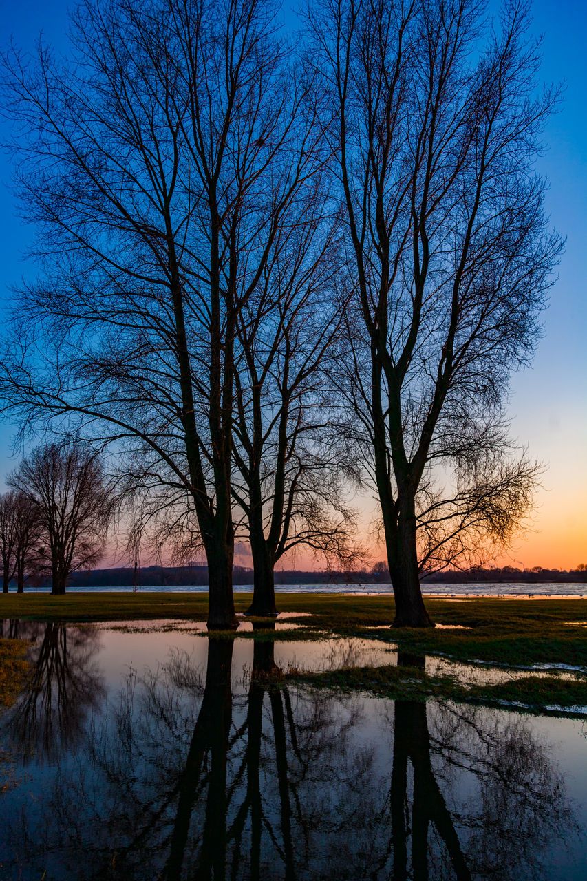 Bare Trees By Lake Against Sky During Sunset