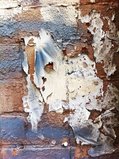 The Mask Bricks Day Destruction Deterioration Face Geometry Natural Pattern Rough Textured  Wall Weathered