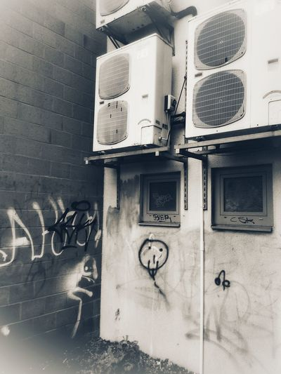 Monochrome monochrome photography Outdoor Unit Appartment Airconditioner Airconditioning Technology Electricity  Architecture Close-up Building Exterior Built Structure Street Art Spray Paint Graffiti