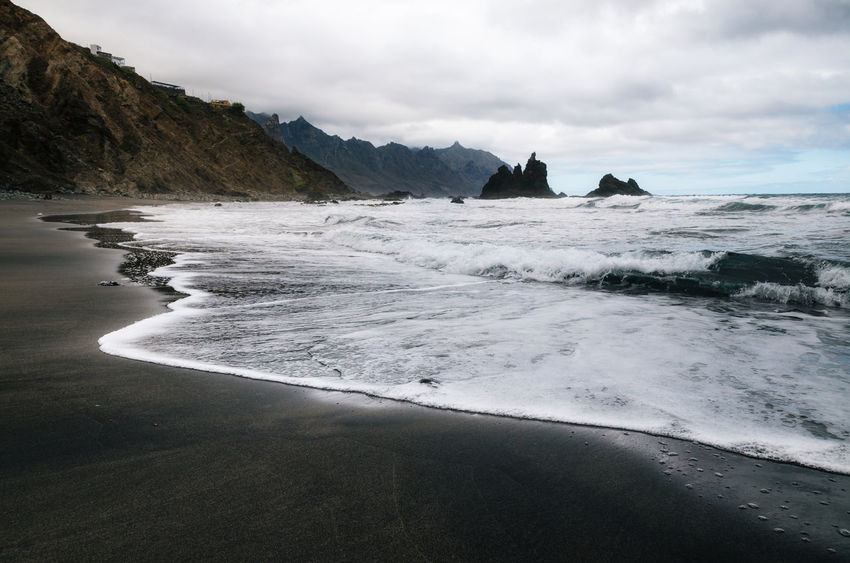 Wild Benijo beach with big waves and black sand on the north coast of the island Tenerife, Spain Benijo Canary Islands Ocean View Oceanside Beauty In Nature Black Sand Beach Nature No People Outdoors Scenics Sea Tenerife Tranquility Water Wave Wild Beach