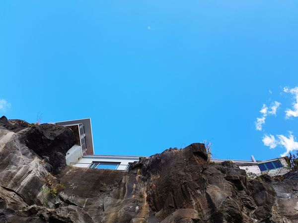 Worm's Eye View Blue Color Rock Formation Clouds Perspective Bildfolge Photography Landscape_Collection Landscape_photography Madeira Island Architecture EyeEm Selects Blue Sky Day Outdoors No People Low Angle View Built Structure Clear Sky Building Exterior Blue Sky Nature