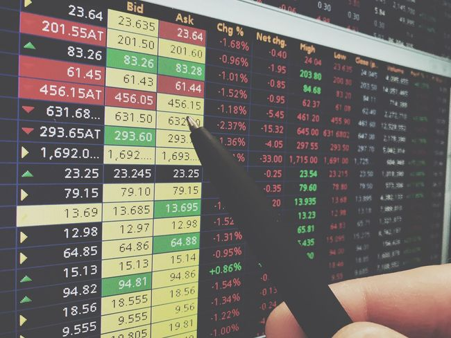 Bear market day Stock Market Shares Equities Stocks Computer Screen Pen Pointing Quote Prices Live Ticker Stock Exchange Office Finance Broker Financial Economy Market Exchange Hand Down Negative Money