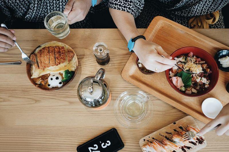 High angle view of woman having food