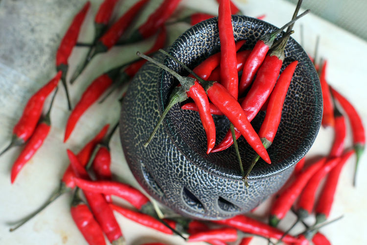 Close-Up Of Red Chilies In Container