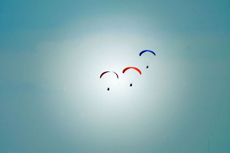 Low angle view of kite flying in sky