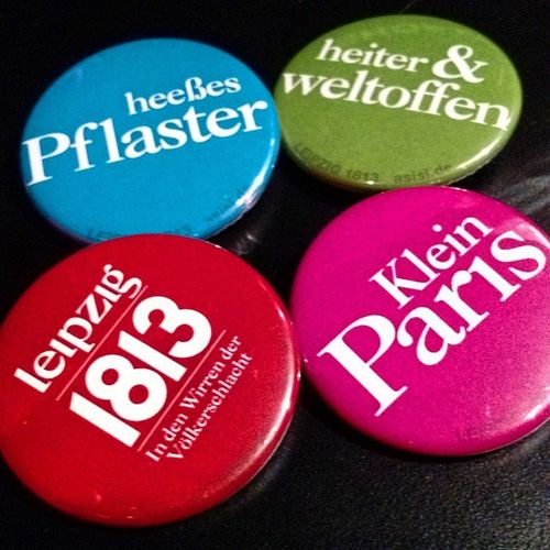 Leibzig statement - buttons sold Panometer Leibzig Asisi Mechants traderoutes tourism