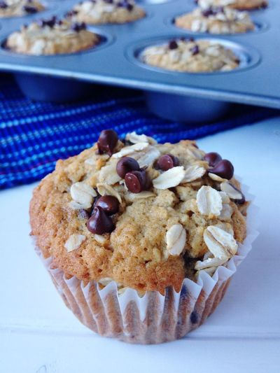 Close-up of oatmeal chocolate chip muffins