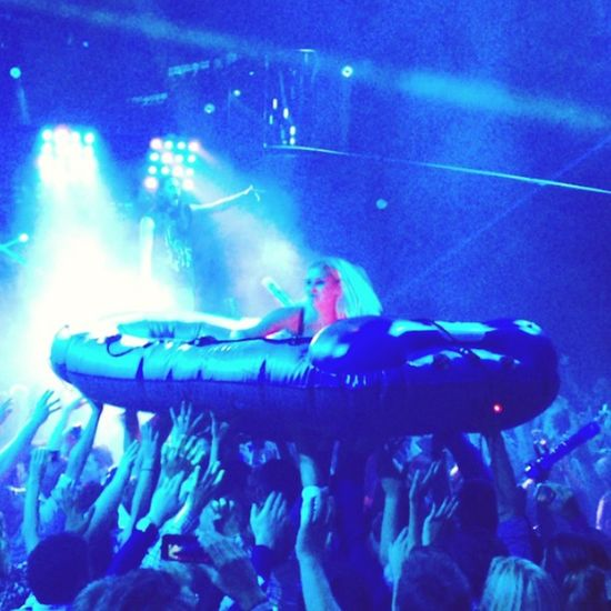 Crowd rafting at Steve Aoki's show