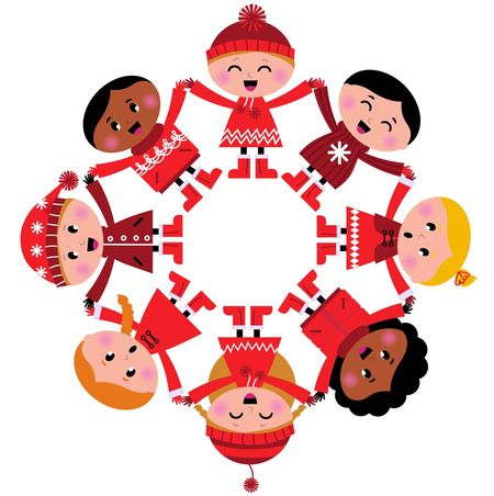Happy smiling Multicultural Kids / Original hand-drawn Art RED Multicultural Kids Art Circle Folk Friendship I Illustration Kids Shoes Multi Colored Multiculti People Red Relationsho White Background
