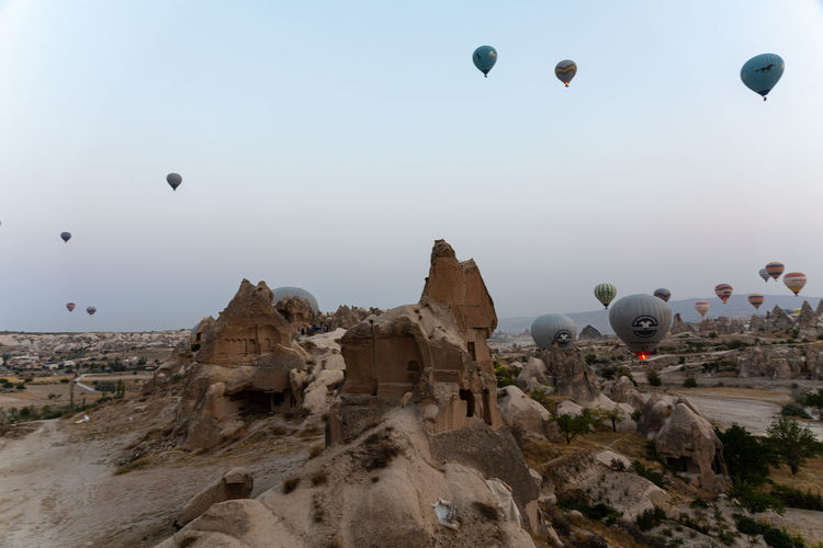 View of hot air balloons flying in sky