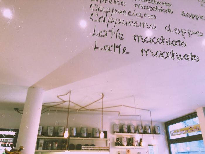 Pink Color Cafe Cafe Time Illuminated Low Angle View Glass - Material Building Sign Text Script Western Script No People Information Message Mirror Reflection Typography Handwriting  Letter Light Indoors  Day Urban Lifestyles Life