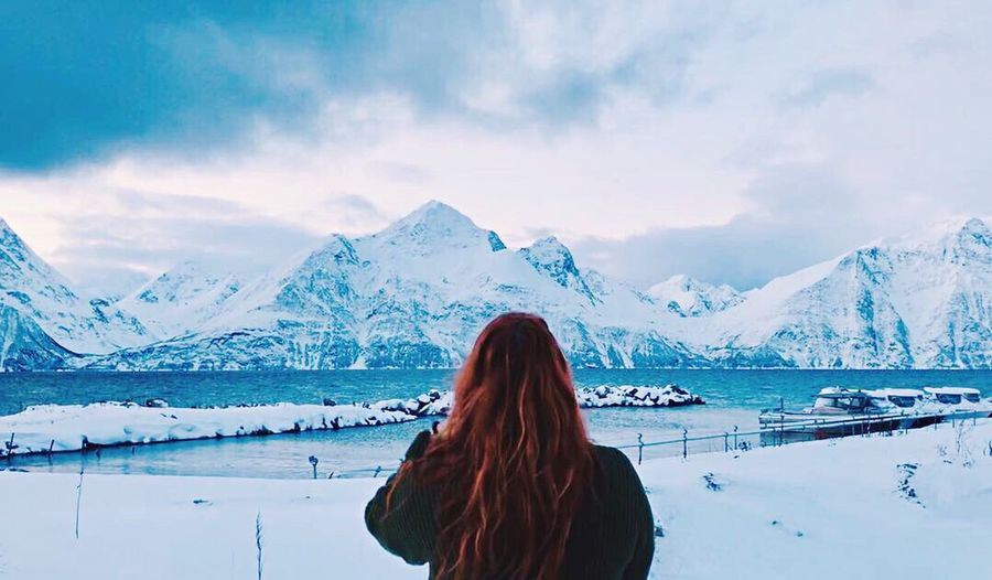 Lyngen Alps 2019 Norway Lyngen Alps Ginger Hair Ginger One Person Rear View Adult Water Scenics - Nature Nature Snow Winter Sky Outdoors Mountain Range