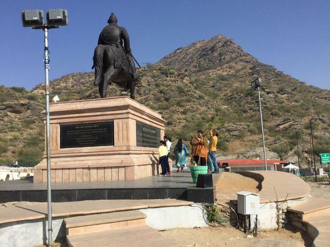 MAHARANA PRATAP statue behind ARAVALI HILLS Hills And Valleys Sculpture Outdoors Day Clear Sky