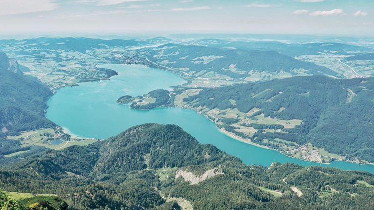 Lake View Lakeview Lake Salzkammergut Window View Altitude High Altitude From Above  Landscape Panoramic Landscape Water City Mountain Aerial View Sea Sky Landscape Pine Tree