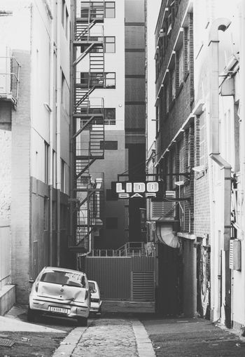 Alley Alleyway Blackandwhite Building Building Exterior City City Life City Street No People Parked Stairs