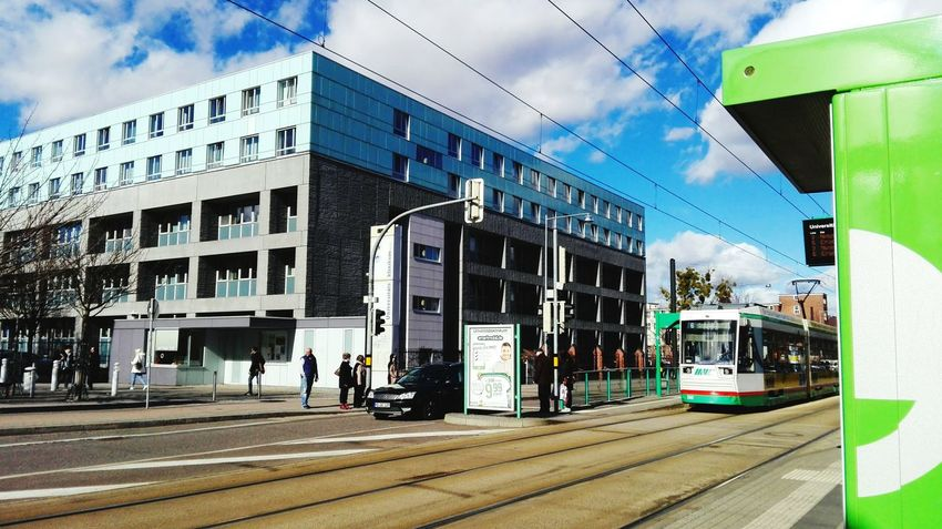 Architecture Building Exterior Tram City Cloud - Sky Outdoors Built Structure Surgery Time Hospital Time The Places I've Been Today Hospital February 2017 Universitätsklinikum Magdeburg Winter 2017 Architecture The Way Forward Sunbeam Day Blue Low Angle View Magdeburg