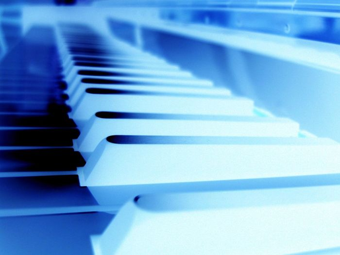 Piano Negative Morten Müller-Schnelle Music Close-up No People Piano Indoors  Blue Piano Key Musical Instrument In A Row Selective Focus Music Musical Equipment White Color Arts Culture And Entertainment Keyboard