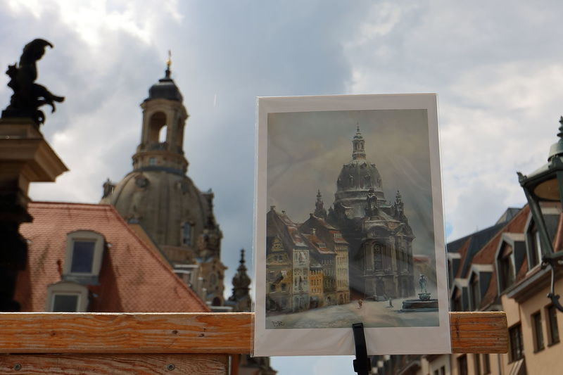 Dresden Frauenkirche WeekOnEyeEm Architecture Building Exterior Built Structure City Cloud - Sky Day Eye4photography  Low Angle View No People Outdoors Place Of Worship Religion Sculpture Sky Spirituality Statue Travel Destinations