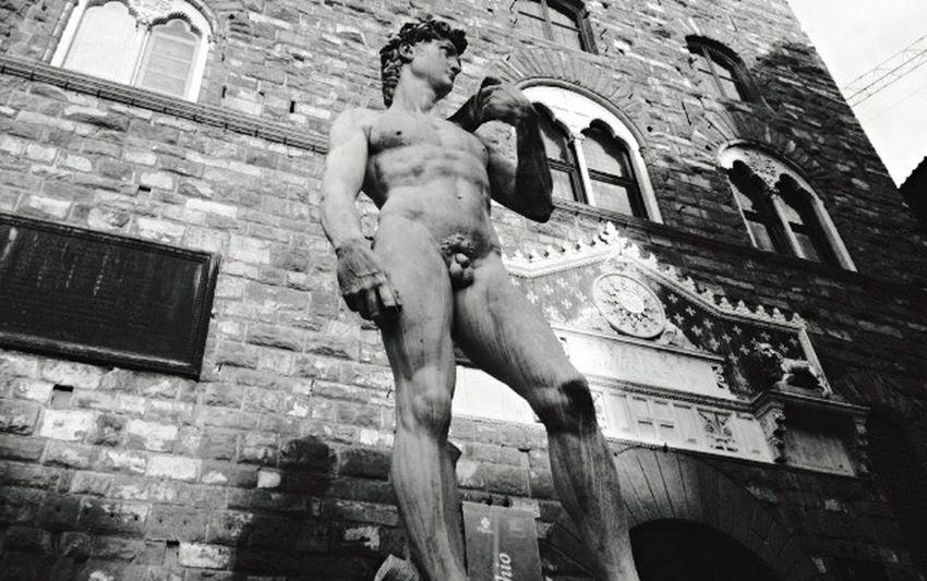 Architecture Low Angle View Sculpture Statue Art David King David Firenze Renesance Fake Michaelangelo Blackandwhite