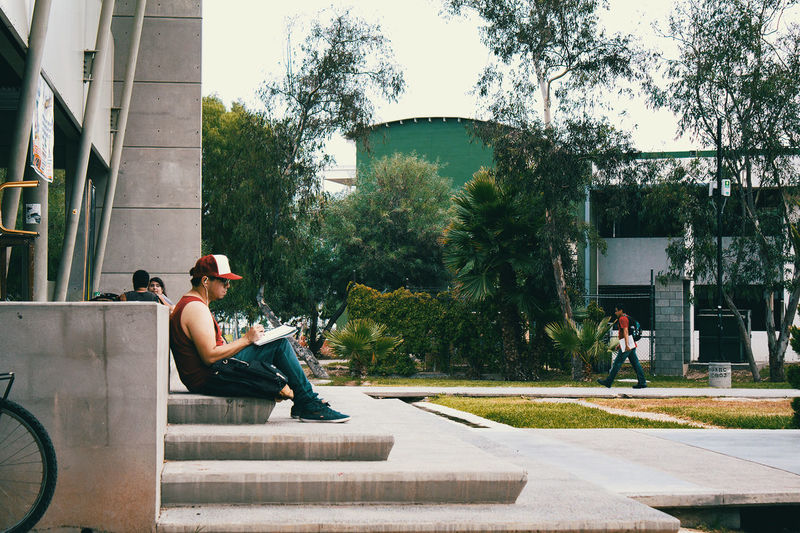College University Stairs Student Reading
