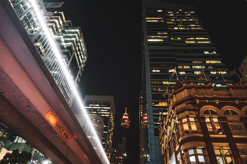 Sydney city night Sydney Architecture Building Exterior Built Structure Illuminated City Night Office Building Exterior Modern Building Skyscraper Tall - High Cityscape No People Tower City Life Travel Destinations