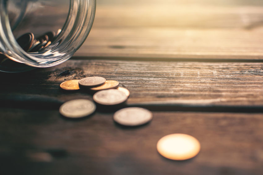 Business Close-up Coin Currency Finance Jar Selective Focus Still Life Table