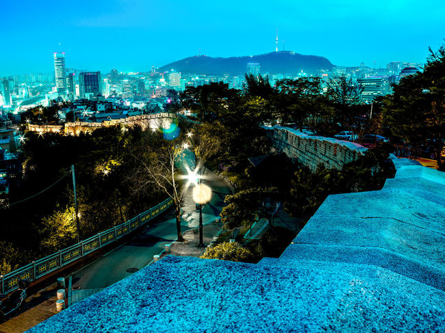 ASIA EyeEm Selects Seoul Architecture Blue Bridge Building Exterior Built Structure City Cityscape Cold Temperature Complimentary Cyber Illuminated Landmark Mountain Namsan Nature Neon Life Night No People Outdoors Punk Sky Tower Tree