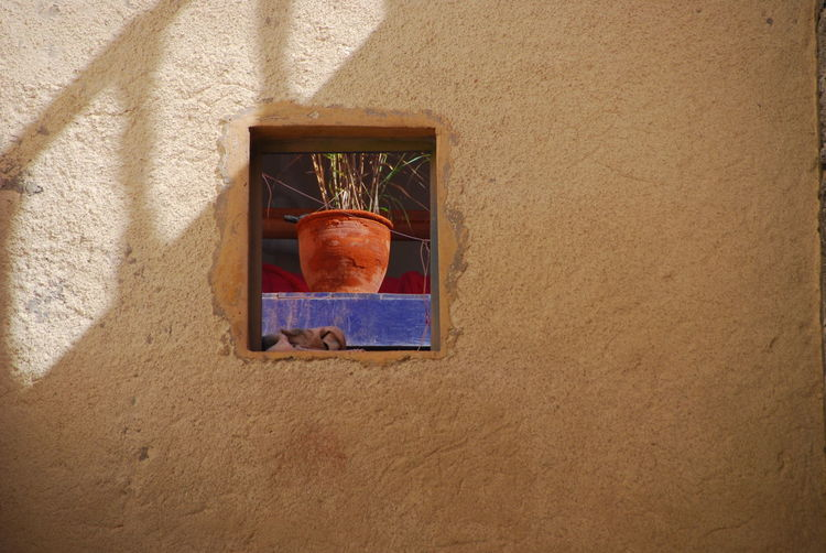 Fenster Topf Pflanze Blume Mauer Wand Wall Window Flower Small Morroco Marokko Nordafrika Small Window