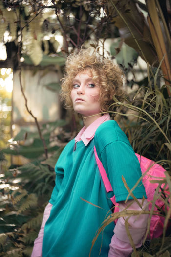Beautiful Woman Blond Hair Curly Hair Day Focus On Foreground Leisure Activity Nature One Person Outdoors Plant Portrait Real People Standing The Portraitist - 2017 EyeEm Awards Tree Young Adult Young Women