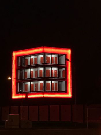 Red Night Illuminated No People Black Background Building Exterior Window Architecture Built Structure Neon EyeEm Ready   The Graphic City