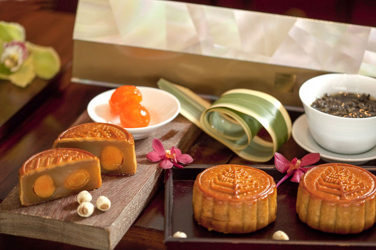 Close-Up Of Moon Cakes On Table