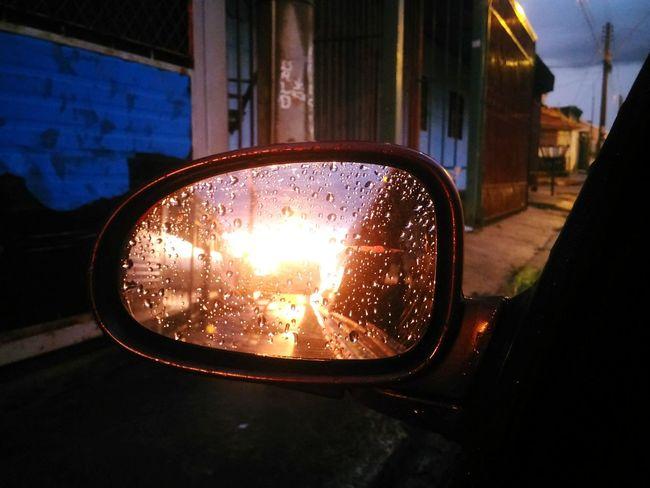 Seguir em frente ... olhar para trás só pra saber qual caminho seguir. Window Car Reflection Transportation Side-view Mirror Mode Of Transport No People Night Close-up Illuminated City