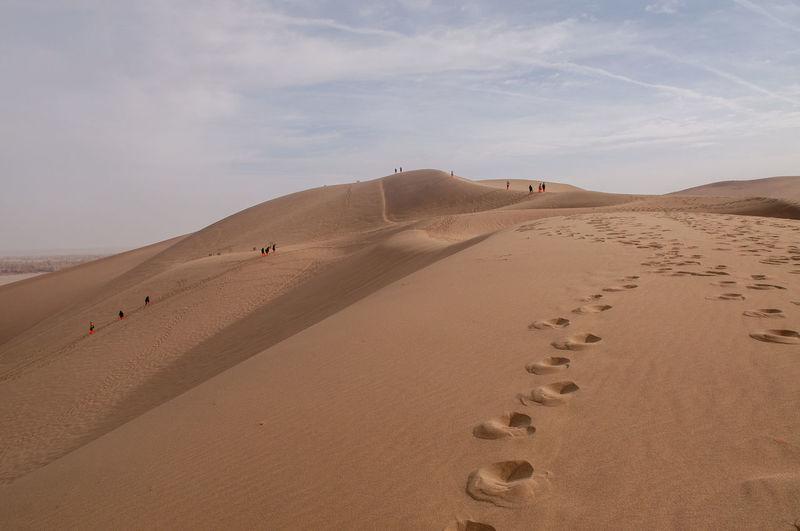 Travel China Desert Wonderland Sand Sky Nature Crescent Lake