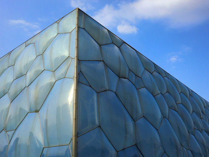 Architecture Blue Built Structure Close-up Day Low Angle View Modern No People Outdoors Pattern Sky