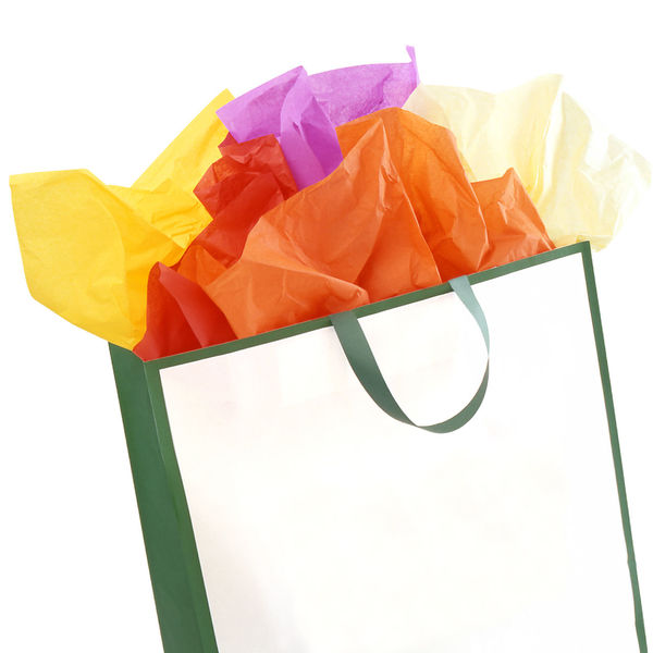 Shopping bag with colored papers Colored Colors Orange Red Shopping Bag Concept Conceptual Consumerism Gift Goodie Bag Multi Colored Package Papers Purple Retail  Retail Store Shopping Bag Studio Shot Variation White Background Yellow