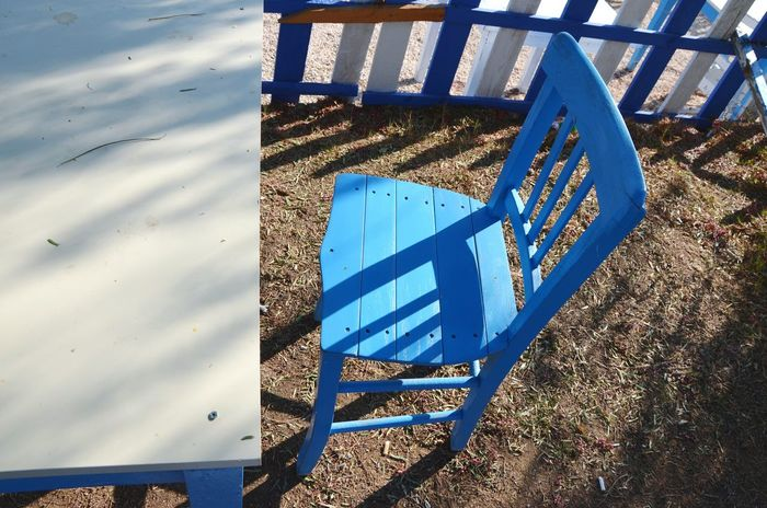 Sunlight Outdoors Close-up Chair Table Furnitures Blue White View From The Top The City Light