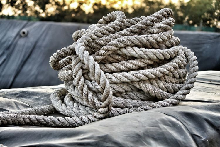 Close-up of rope on fabric