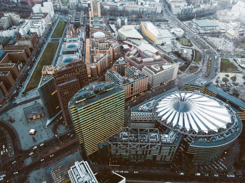 Aerial Shot Architecture Business Financial District  From Above  Modern Sony Center Traffic Aerial View Architecture Building Building Exterior Built Structure City Cityscape Day Downtown District Dronephotography High Angle View No People Office Building Exterior Potsdamer Platz Residential District Skyscraper Travel Destinations