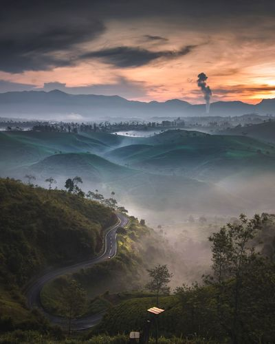 Syahdu Moment Landscape_photography Haze Sunrise EyeEm Best Shots Sky Beauty In Nature Cloud - Sky Tree Scenics - Nature Plant Mountain High Angle View Nature Outdoors Landscape