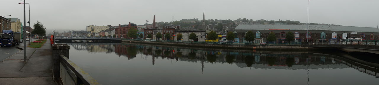 Panoramic view of river by buildings against sky