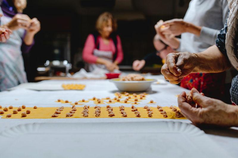 Group of people preparing food