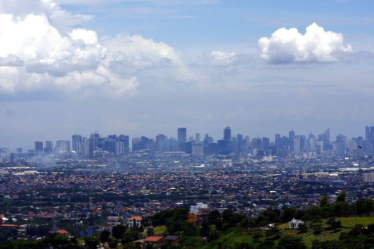 Aerial view of Metro Manila, Philippines. Skyscraper Cityscape Urban Skyline Downtown District Cloud - Sky City Architecture Sky Modern Outdoors Travel Destinations Building Exterior Industry Business ASIA Philippines Makati City Antipolo City Cainta😉 TayTay  Pasig City Makati City, Philippines Manila, Philippines Taguig, Philippines Buildings Architecture