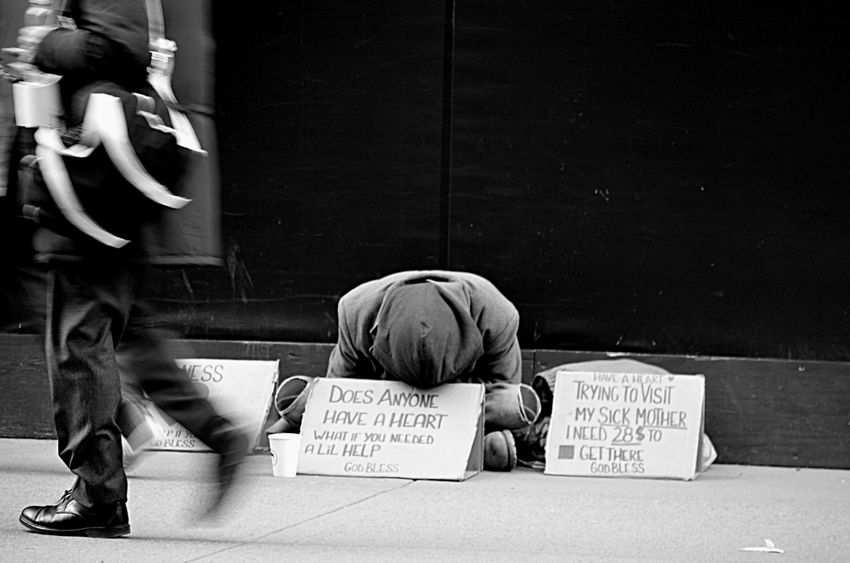 Man panhandling on the street in NYC Begging Black And White Holding Homeless NYC Panhandle Panhandling Pjpink Real People Sitting Street Photography Telling Stories Differently