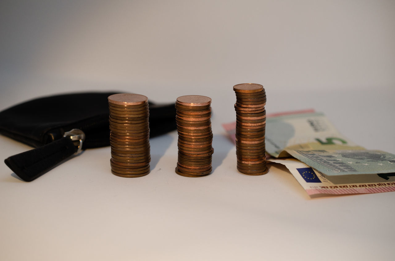 CLOSE-UP OF COINS