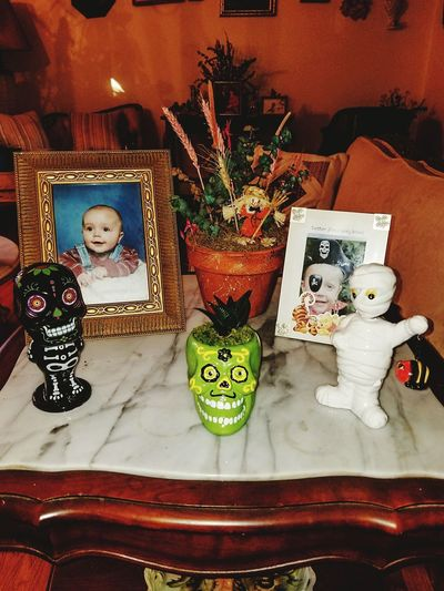 Happyhalloween Driedflowers Picture Succulent Plant Halloweenbobbleheads Ceramic Art