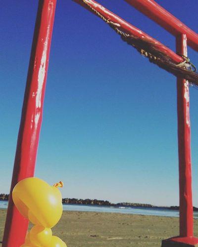 僕 もいつか バルーン バルーンアート 風船 福島 海 海岸 鳥居 赤 黄色 空 青空 Showcase: January青 冬 アート 写真 Balloon Balloonart Japan FUKUSHIMA Sea Beach Bluesky