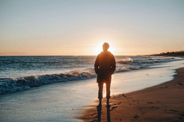 Sun Sunset Light And Shadow Beach Nature Calm Ocean Ocean View Men Meditation Beach